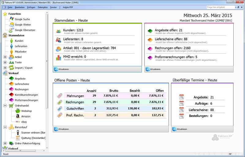 Faktura-XP® Warenwirtschaftssystem Dashboard