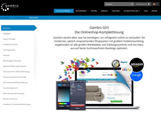 Gambio GX3 Webseitenansicht Gambio