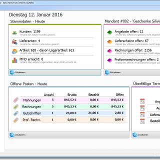 Faktura-XP Dashboard Warenwirtschaftssystem