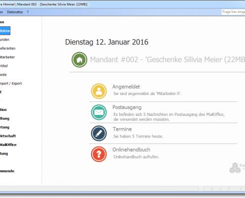 Faktura-XP Dashboard Warenwirtschaftssystem (klein)