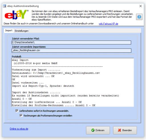 Bestellabwicklung für ebay®