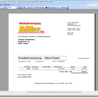 Kundenkonto Auszug als Bericht Warenwirtschaftssystem