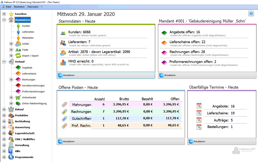 Faktura-XP 2020 Dashboard Ansicht beim Start